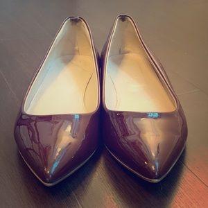 J Crew Dark Aubergine Patent Leather Flats
